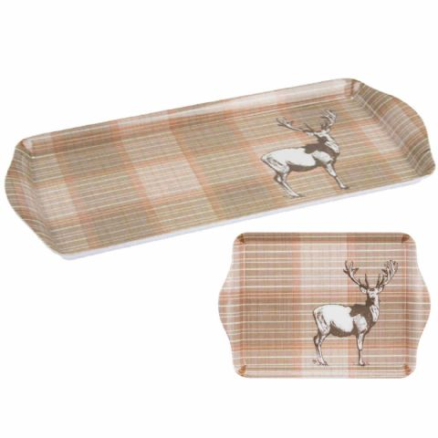 Brown Countryside Stag Snack Drinks Tea Coffee Serving Tray Set